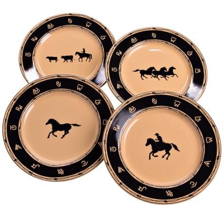 Big Sky Carvers Western Brushwerks Dinner Plates - Stoneware, Set of 4