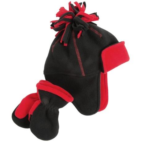 Grand Sierra Color-Block Fleece Hat and Mitten Set (For Toddler Boys)
