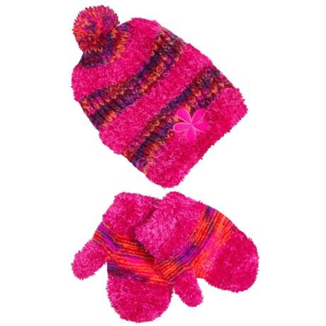 Grand Sierra Eyelash Hat and Mitten Set (For Toddler Girls)