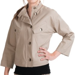 Paperwhite Asymmetrical Crop Jacket - Stretch Cotton, 3/4 Sleeve (For Women)