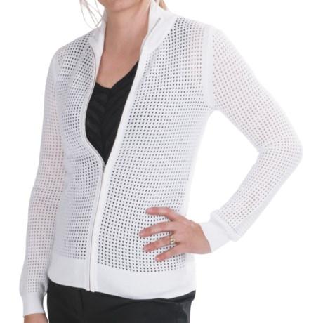 Paperwhite Open Knit Cardigan Sweater - Full Zip (For Women)