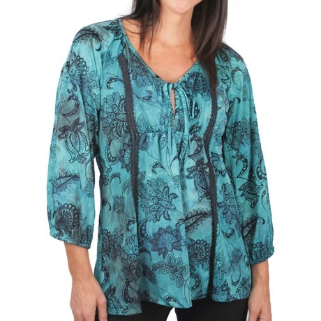 Ethyl Flocked Mesh Peasant Blouse - Long Sleeve (For Women)