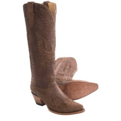 Corral Boots Vintage Tall Cowboy Boots - Eagle Overlay, Snip Toe (For Women)
