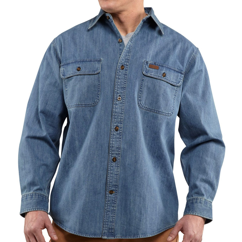 Carhartt washed denim work shirt for men 7248p for Mens denim work shirt