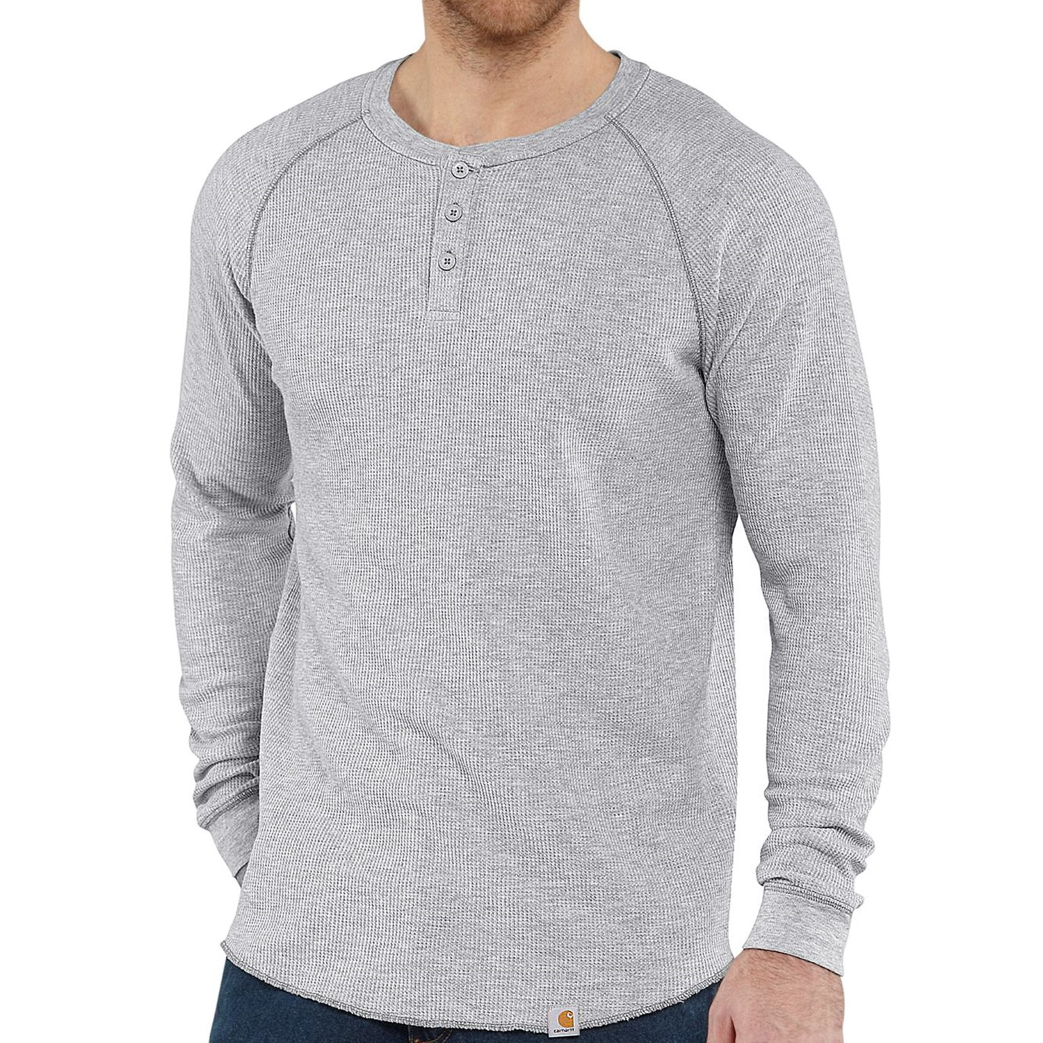 Carhartt thermal knit henley shirt for men 7248t for Men s thermal henley long sleeve shirts