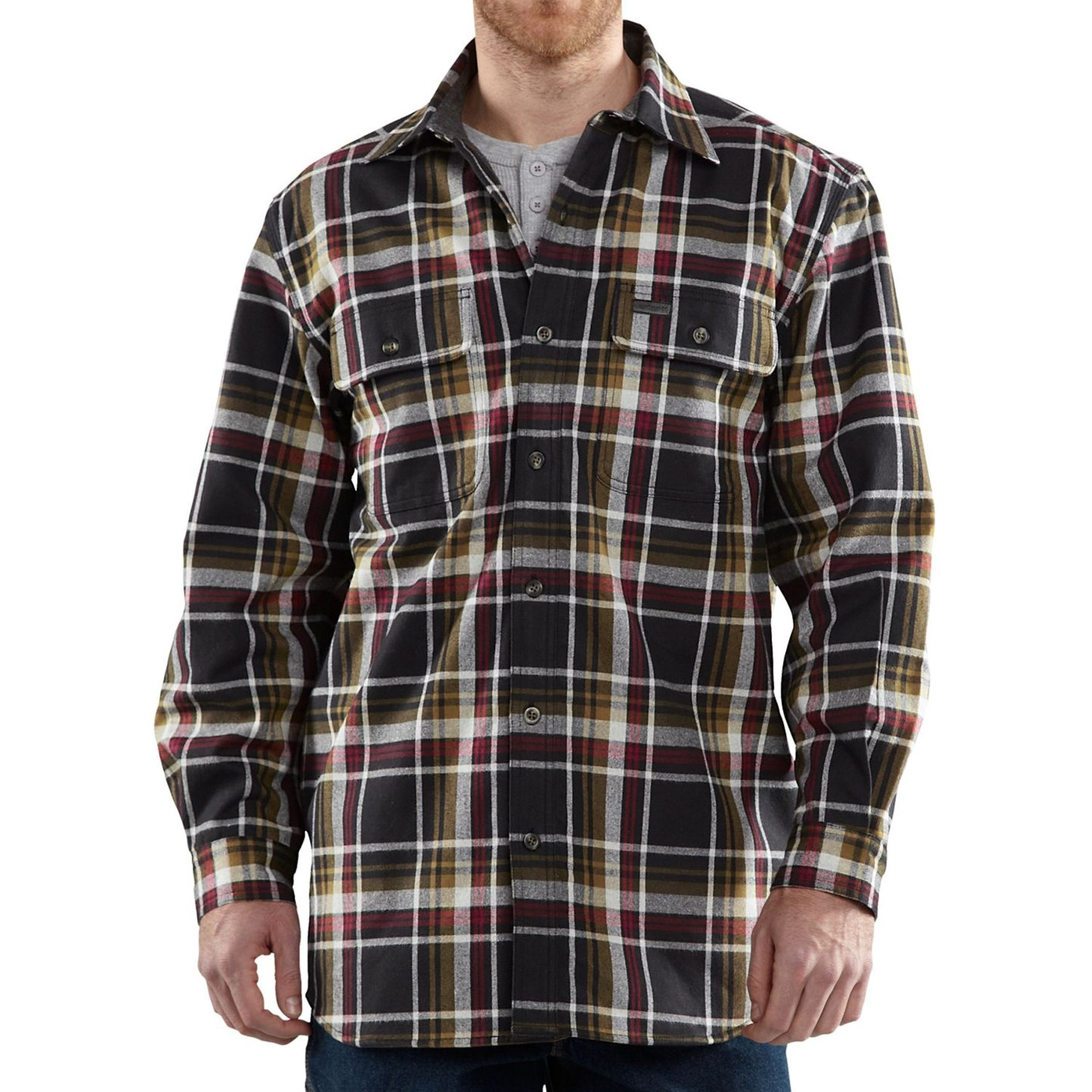 Carhartt youngstown flannel shirt jacket for men 7248u for Flannel shirt and vest