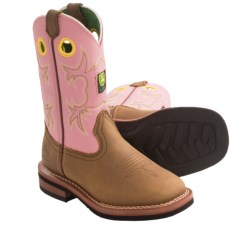 John Deere Footwear Johnny Poppers Cowboy Boots - Broad Square Toe (For Girls and Youth Girls)