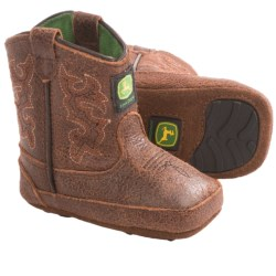 John Deere Footwear Johnny Poppers Cowboy Boots - Distressed Leather (For Infants)