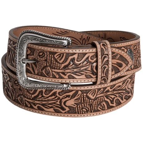 Nocona Acorn Leaf Western Belt - Tooled Leather (For Men)