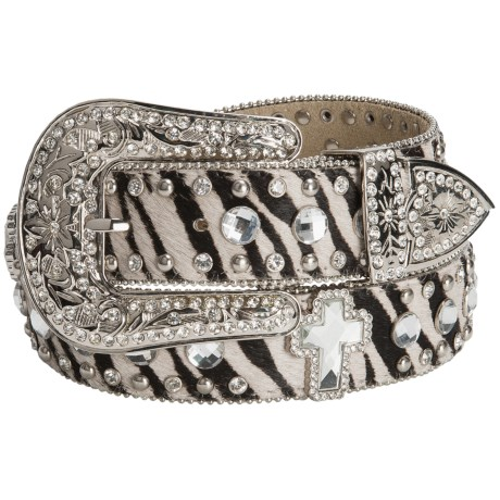 Nocona Zebra Print Rhinestone Belt - Calfskin Leather (For Women)