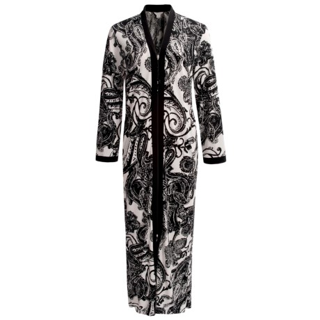 Diamond Tea Printed Stretch Jersey Robe - Long Sleeve (For Women)