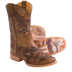 Tin Haul Eagle Crest Cowboy Boots - Square Toe (For Men)