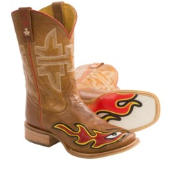 Tin Haul Stink Eye Cowboy Boots - Flame Sole, Square Toe (For Men)