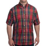 Specially made Plaid Cotton Shirt - Short Sleeve (For Men)