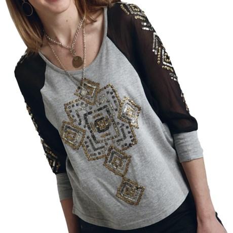 Roper Embellished Shirt - Sheer Dolman Long Sleeve (For Women)