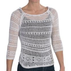 Zena Essentials Crocheted Sweater - 3/4 Sleeve (For Women)
