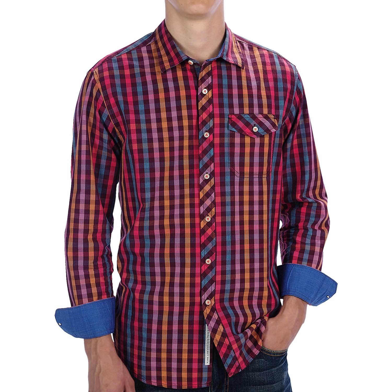 Tommy bahama ginghams burg shirt for men 7386v save 76 for Tommy bahama long sleeve dress shirts
