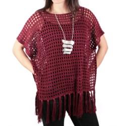 Ethyl Crocheted Fringe Poncho - Sleeveless (For Women)