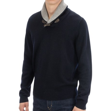 Toscano Toggle Shawl Collar Sweater - Merino-Acrylic (For Men)