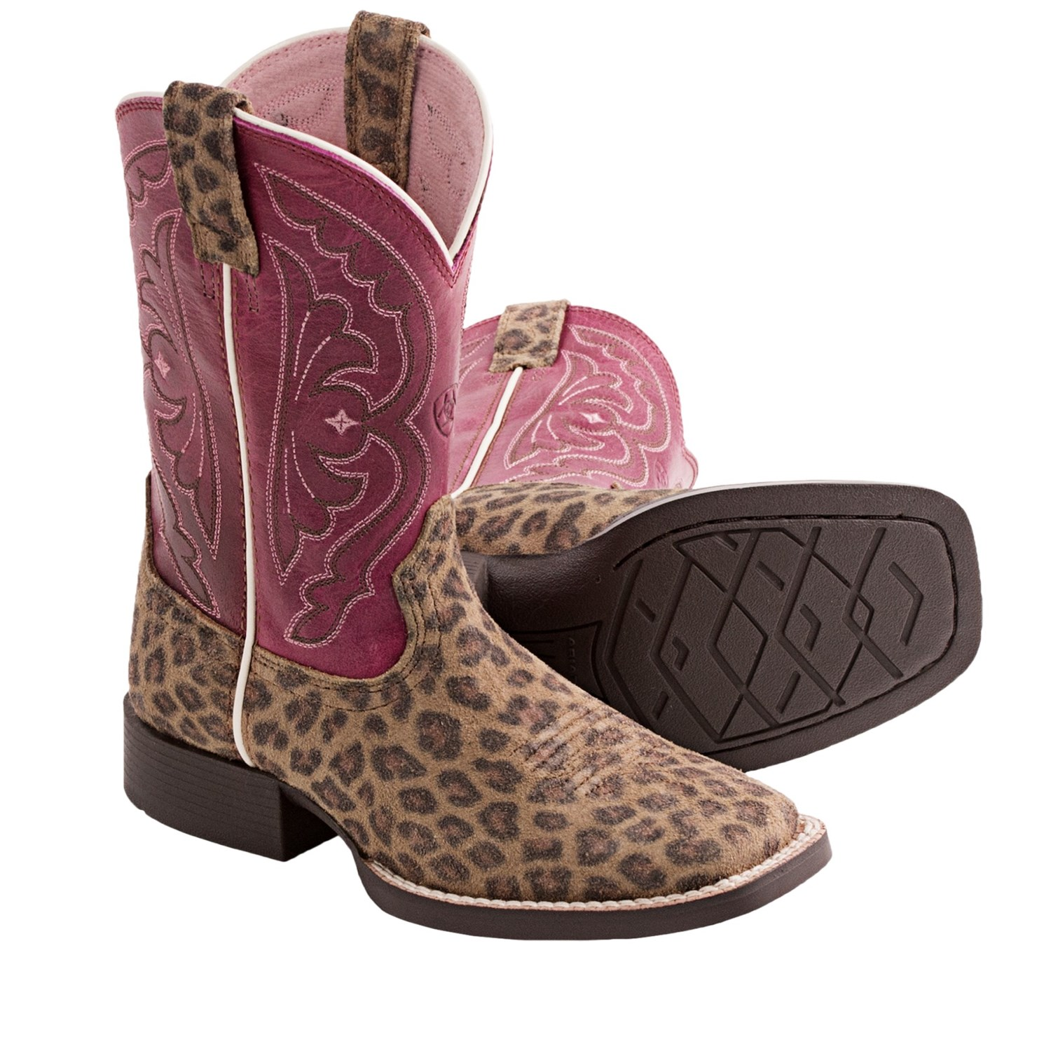 Ariat Quickdraw Leopard Print Cowboy Boots (For Kids and ...