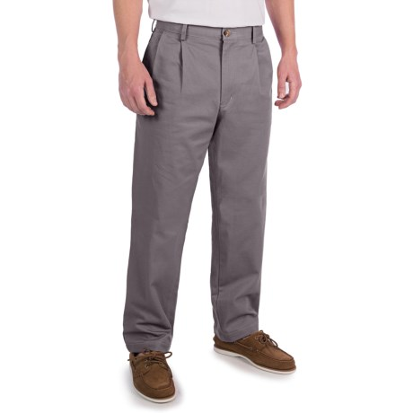 Lands' End Lands' End Cotton Chino Pants - Traditional Fit, Pleated (For Men)