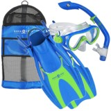 Aqua Lung Coral Mask, Island Dry Snorkel and Fins Set (For Kids)