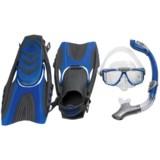 U.S. Divers 3-Piece Dive Set - Sideview LX Mask, Paradise Snorkel, Pivot-Flex Fins