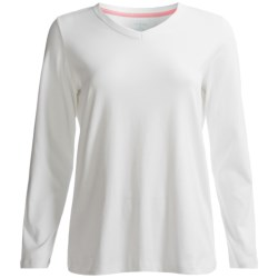 Lands' End Shaped 1x1 T-Shirt - V-Neck, Long Sleeve (For Women)