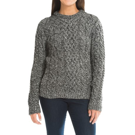 Peregrine Aran Cable-Knit Sweater - Merino Wool, Crew Neck (For Women)