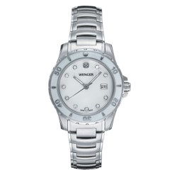Wenger Sport Mother-of-Pearl Watch- Stainless Steel Bracelet (For Women)