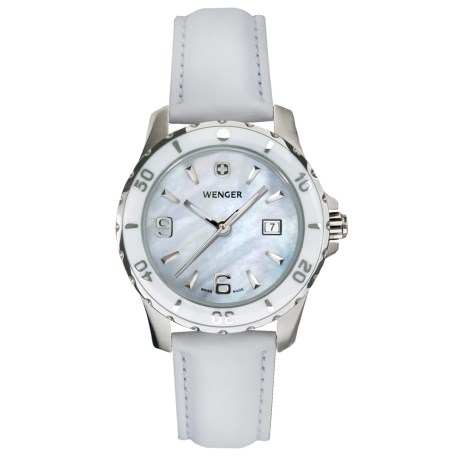 Wenger Sport Mother-of-Pearl Watch - Leather Strap (For Women)