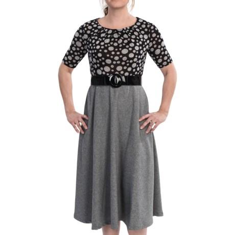 Julian Taylor Pleat Neck Dress - Elbow Sleeve (For Women)