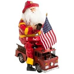 "Santa's Workshop Santa Fireman On a Truck - 16"""
