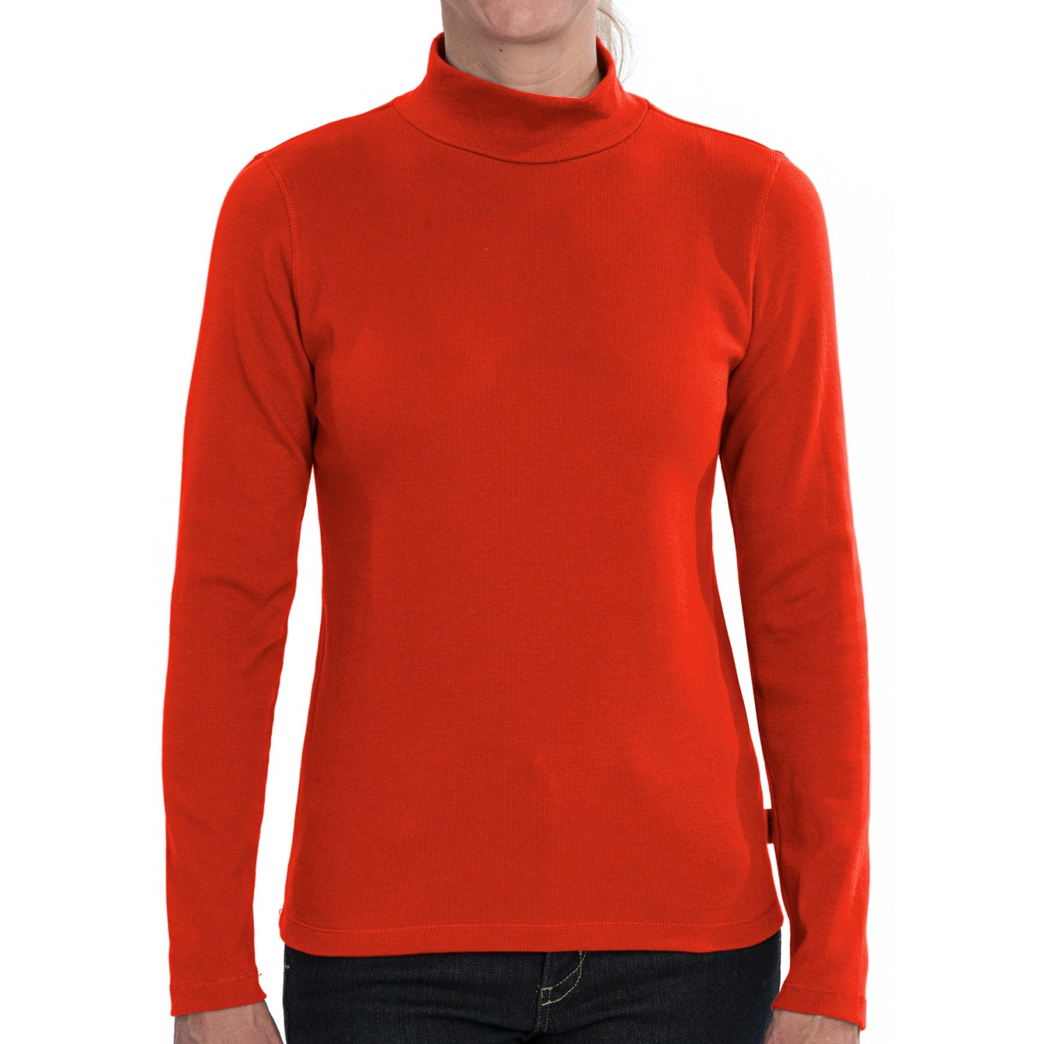 Stretch cotton mock neck shirt for women 7515g save 69 for Ladies mock turtleneck shirts