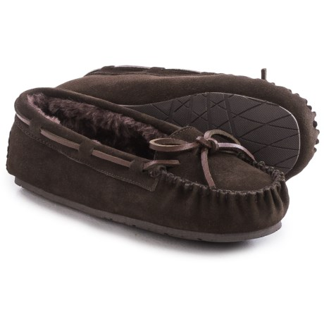Clarks Plush Moc Slippers - Suede (For Women)