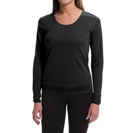 Terramar Jacquard Silk Base Layer Top - Lightweight, Scoop Neck, Long Sleeve (For Women)