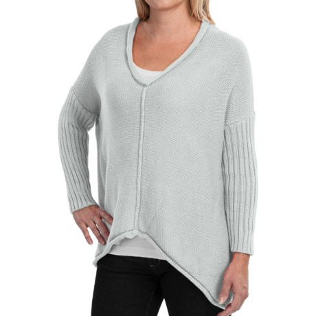 Pure Handknit Fairway Sweater - V-Neck, 3/4 Sleeve (For Women)