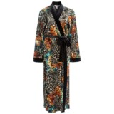 Diamond Tea Burnout Velvet Wrap Robe - Long Sleeve (For Women)