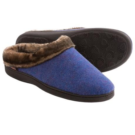 Acorn Faux-Fur Collar Scuff Slippers - Wool Blend (For Women)