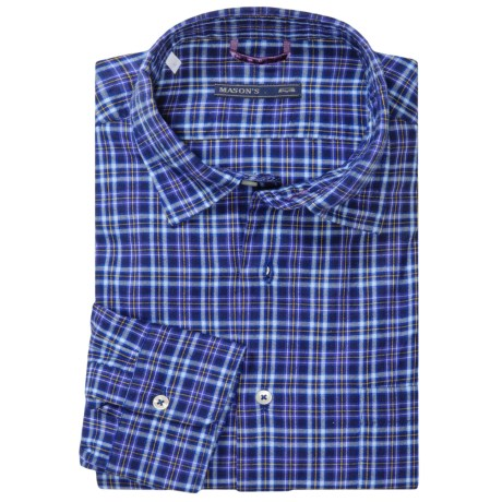 Mason's Brushed Cotton Plaid Shirt - Long Sleeve (For Men)