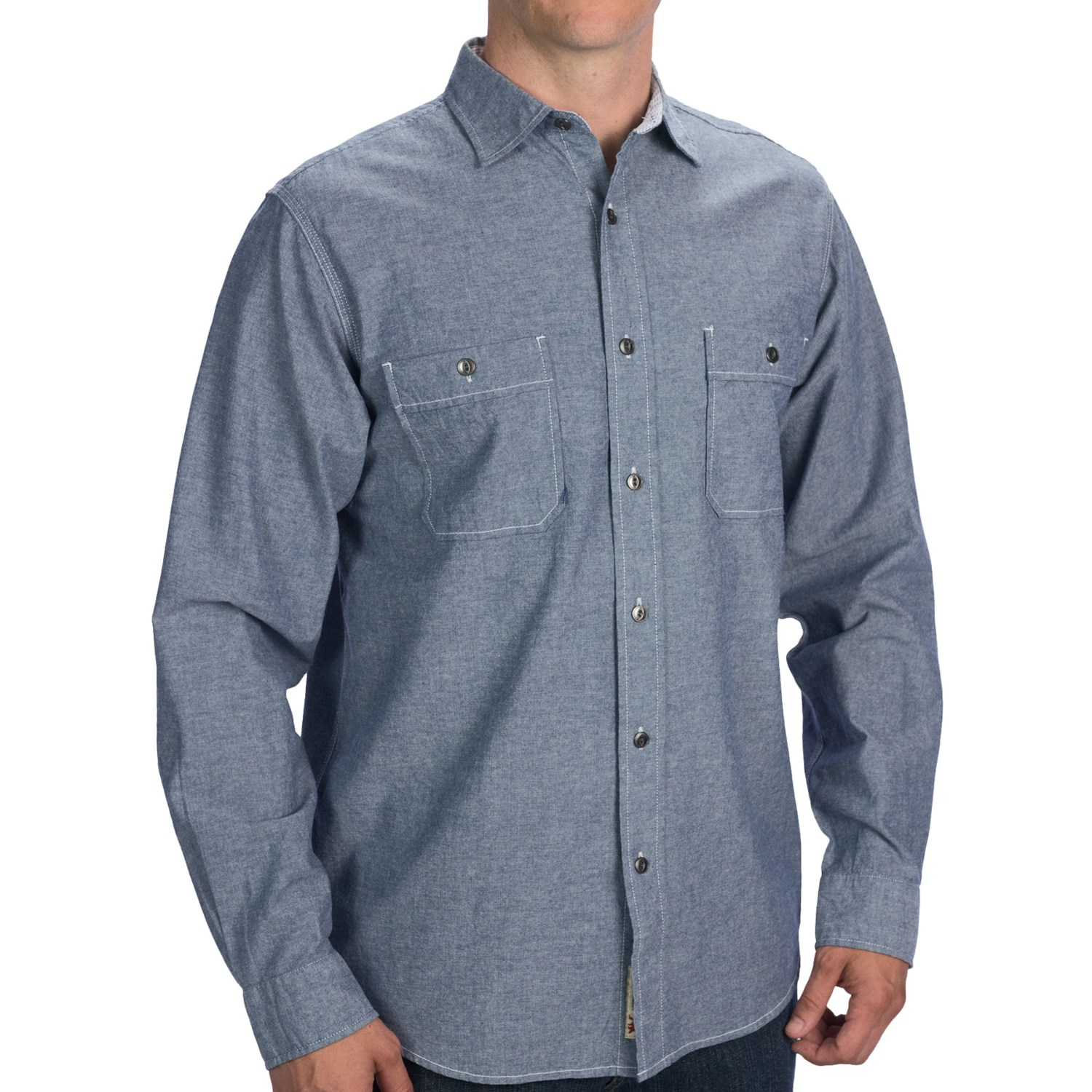 Dakota grizzly monroe work shirt for men 7688c save 41 for Chambray long sleeve shirt