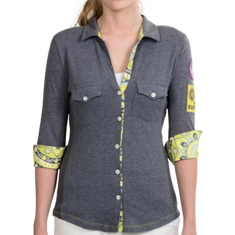 Alp-n-Rock Cotton Knit Button-Up Shirt - 3/4 Sleeve (For Women)