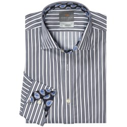 Thomas Dean Pima Cotton Bar Stripe Shirt - Long Sleeve (For Men)