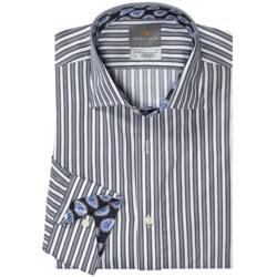 Thomas Dean Pima Cotton Bar Stripe Shirt - Long Sleeve (For Men)
