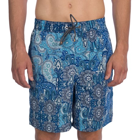 Thomas Dean Relaxed Fit Printed Swim Trunks - Mesh Inner Brief (For Men)