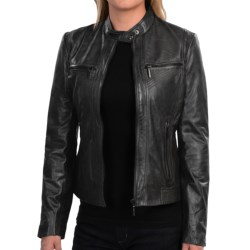 Bernardo Tab Collar Leather Jacket (For Women)