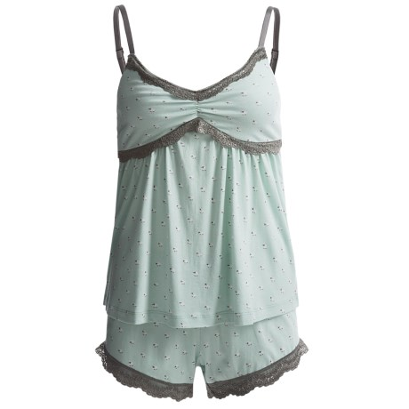 Munki Munki Lace-Trimmed Tank Top and Shorts Pajamas - Spaghetti Straps (For Women)