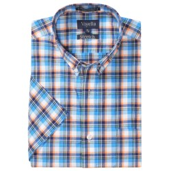 Viyella Washed Cotton Plaid Shirt - Button Down, Short Sleeve (For Men)