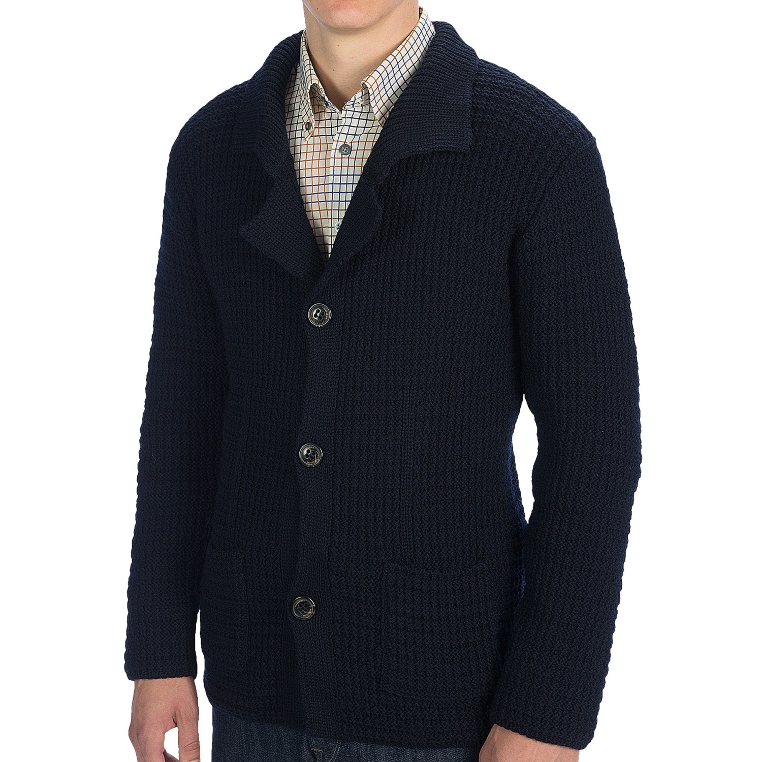 Verno Men's Navy and Light Blue Wide Herringbone % Wool Blazer.
