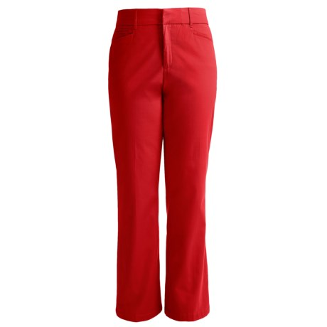Flat Front Cotton Stretch Pants (For Women)